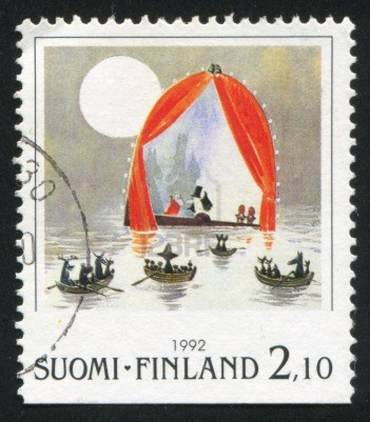 FINLAND - CIRCA 1992: stamp printed by Finland, shows Moomin characters in boats, circa 1992 Stock Photo