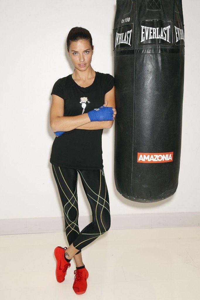 Adriana Lima at Aerospace gym in New York. [Photo by John Aquino]