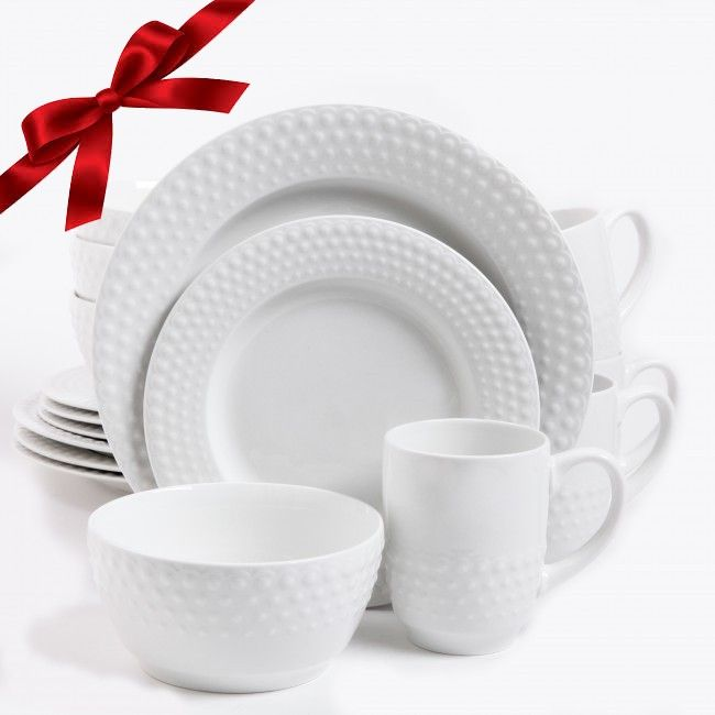 Gibson Home Knollview 16 Piece Dinnerware Set, White