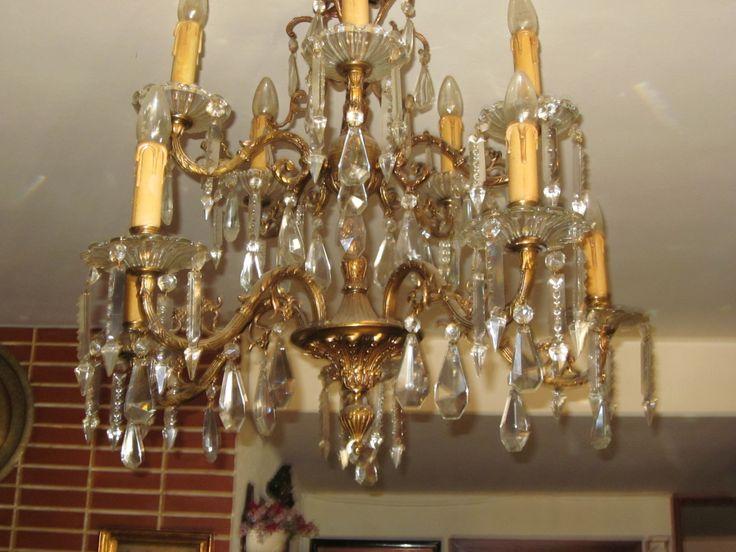 L mpara de techo tipo ara a de bronce y cristal a os 40 - Lamparas de arana antiguas ...