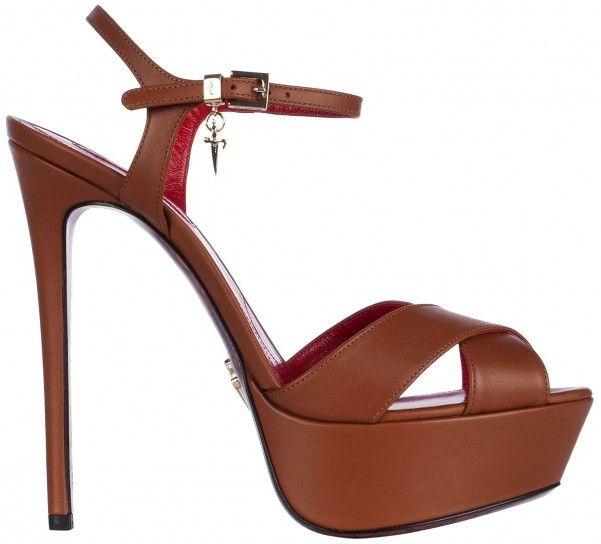 Sandali con tacco alto e maxi plateau color cuoio Cesare Paciotti