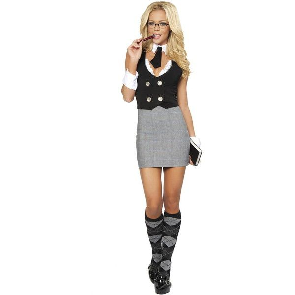 Buy Sexy Librarian School Girl Costume 4313 ❤ liked on Polyvore featuring costumes, sexy schoolgirl costume, sexy school girl halloween costume, sexy halloween costumes, school girl and sexy school girl