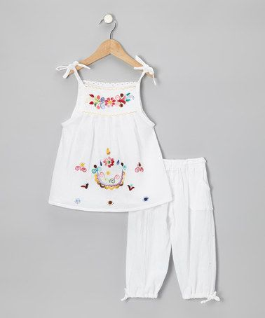 Take a look at this White Lola Pinafore Top & Pants - Infant, Toddler & Girls by Little Cotton Dress on #zulily today!