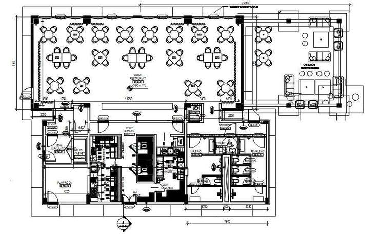 Beach grill Restaurant furniture floor plan design is