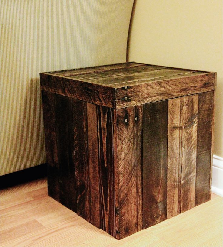 Reclaimed wood storage cube Wooden cube furniture