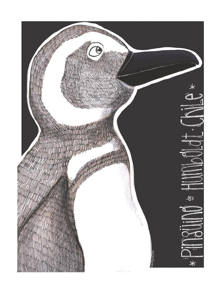 Pingüino de Humboldt - Postales de Chile. on Behance - #Humboldt #Penguin #postcard #illustration #art #animal