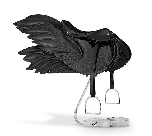 "am in love ......Mini Selle Ailée saddle Decorative mini saddle in smooth black crocodile skin and Swift calfskin. Miniature version of the iconic 'Selle Ailée"" (winged saddle). Exceptional piece made by a craftsman from the 24 Faubourg workshop. Comes with metal support."