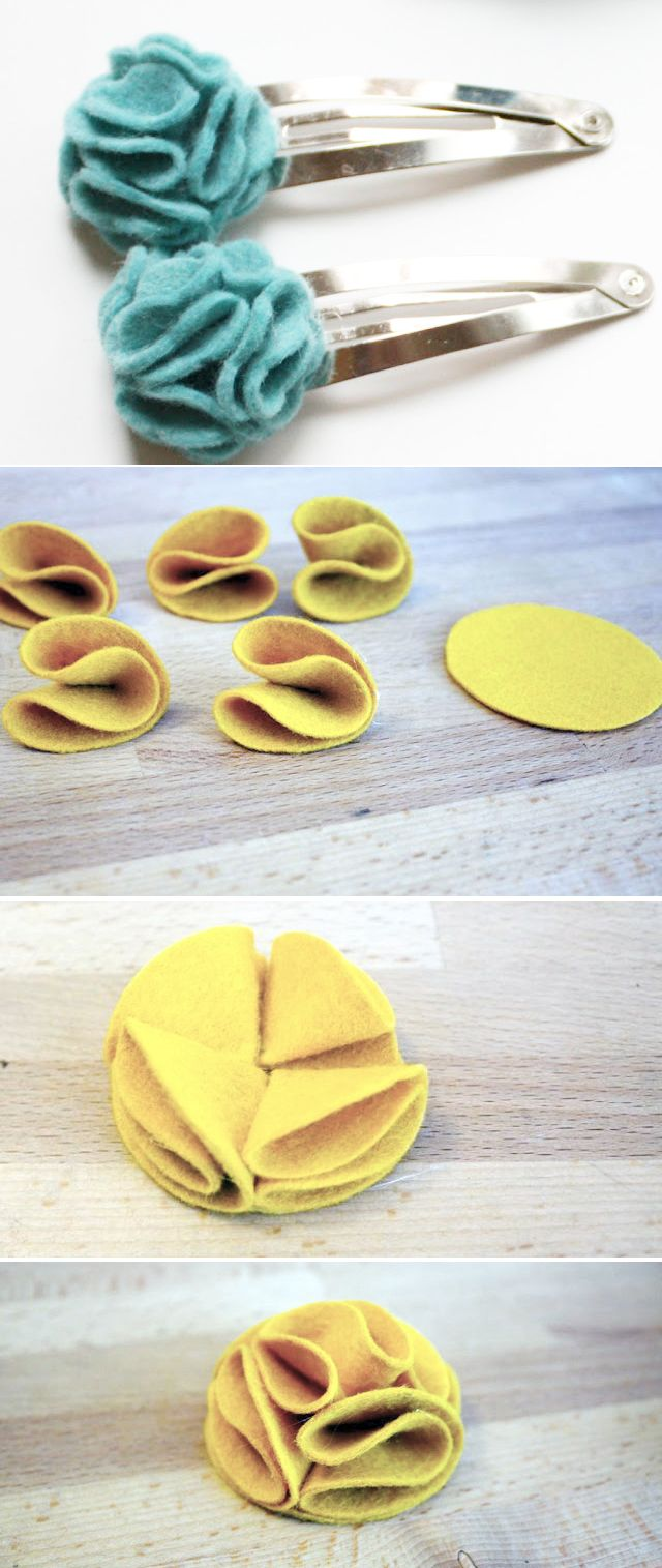 Felt flower hair clip (felt flower tutorials)  This ones good. Has a few different types and how to make them..