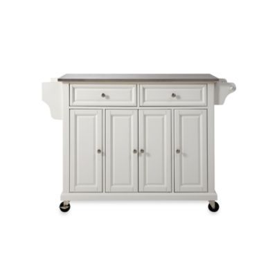 Crosley Kitchen Cart/Island with Stainless Steel Top - BedBathandBeyond.com - could this work as the bar in the pool room/basement?