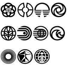 Vintage EPCOT Center Pavilion Logos, Walt Disney World. From top left: EPCOT Center, Communicore, Horizons, Journey into Imagination, The Land, World of Motion, Spaceship Earth, The Living Seas, Universe of Energy, Wonders of Life, and World Showcase