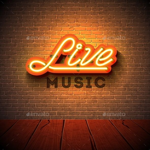 Live Music Neon Sign Neon Signs Brick Wall Background Live Music