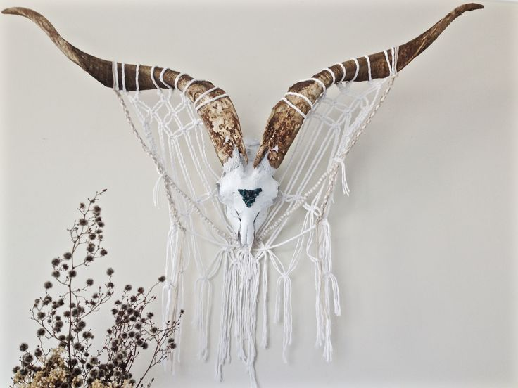 Goat Skull Wall Hanging with Macrame and Turquoise