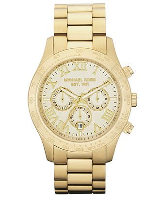 Michael Kors Watch, Men's Chronograph Layton Gold-Tone Stainless Steel Bracelet 45mm MK8214 - All Michael Kors Watches - Jewelry & Watches -...