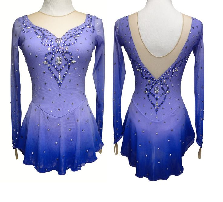 Lilac figure skating dress, dipped to a deep purple. Learn more about custom skating dresses at sk8gr8designs.com