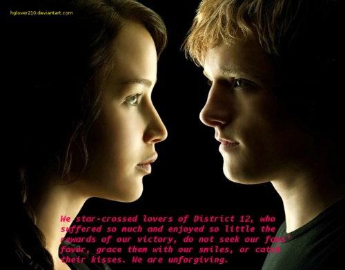 katniss and peeta as star crossed lovers from the hunger games The star crossed lovers from district 12 song: star crossed by scary kids scaring kids the star crossed lovers from peeta/katniss [hunger games.