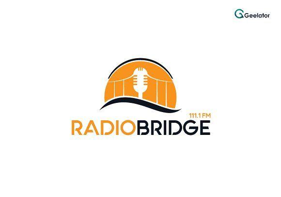 Radio Bridge Logo Template by Geelator on @creativemarket - #audio #microphone #morning #music #radio #show #studio #talkshow #talk #onair #news #onlineradio #record #wave #podcast #sound #cloudradio #logotemplate #logodesign #logoshop #internetradio #melody #radiostation #streaming #mic #mixing #bridge #sun #sunset #sunrise