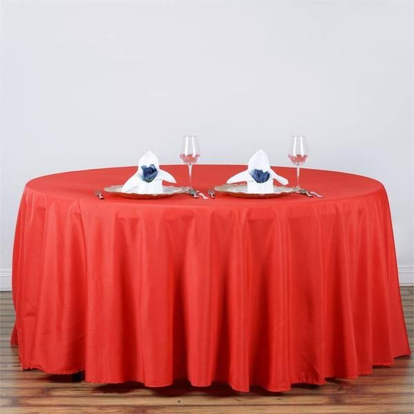 """120"""" RED Wholesale Polyester Round Tablecloth - Plan as many events as you want and invite as many guest as you desire without even worrying about the expenses and your budget. With our sturdy and economical polyester tablecloths, you can now transform any dining experience into a magnificent feast with an upscale feel and an elite look without breaking the banks. Get inspired by this premium quality polyester tablecloth that opens the gates of creativity and ingenuity. With such a high…"""
