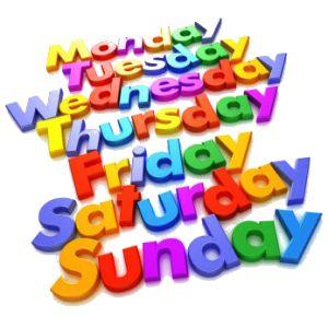 dias da semana em ingles confira