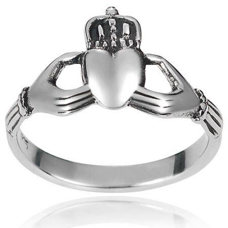 Brinley Co. Women's Sterling Silver Claddagh Ring, 2.7mm, Size: 8