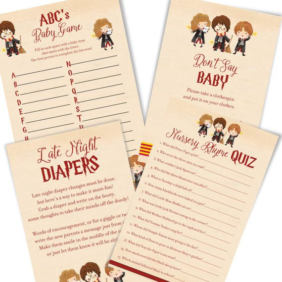 Harry Potter Baby Shower Games   Harry Potter Baby Shower Game Cards   Cute  Harry Potter Baby Shower Games   Immediate Digital Download