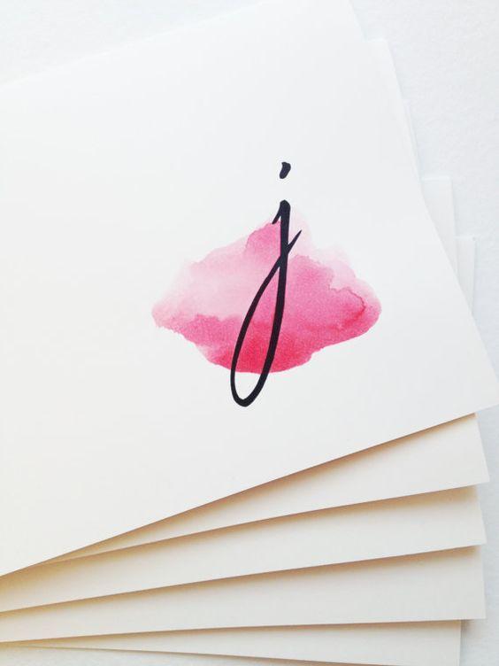 Watercolor swoosh monogram