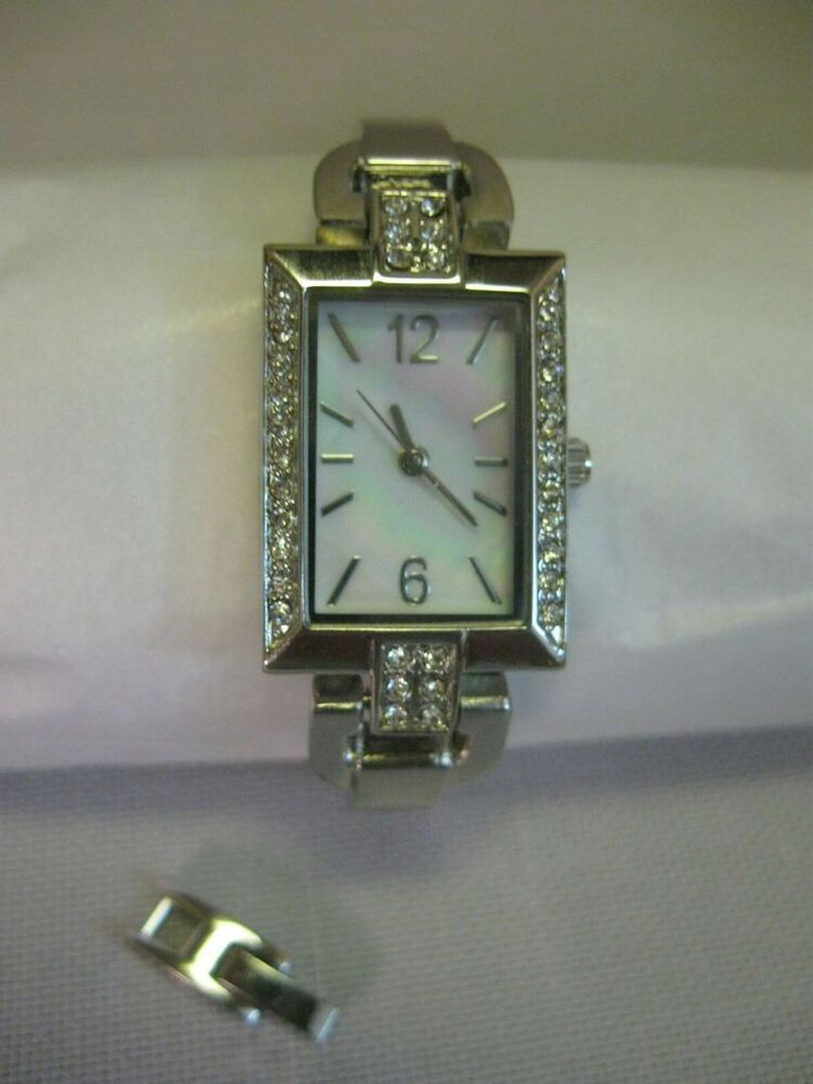 Ladies Cocktail Party Watch Silver Tone Rhinestone Face Mother Of Pearl Ladiescocktailwatch In 2020