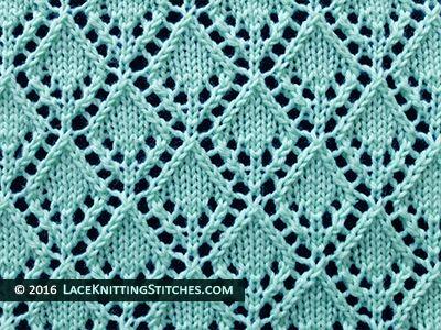 Lace knitting stitch of the Month - September 2015. #6 Openwork Diamonds stitch