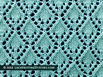 #laceknitting. #6 Openwork Diamonds Lace Stitch Pattern