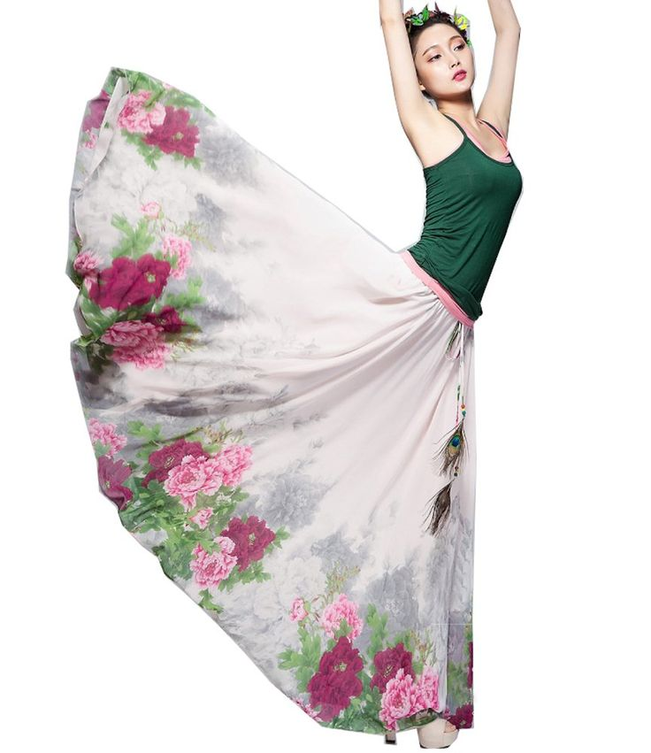 Izaac Womens Blending Chiffon Retro Long Maxi Skirt Vintage Dress (one size, floral) at Amazon Women's Clothing store: