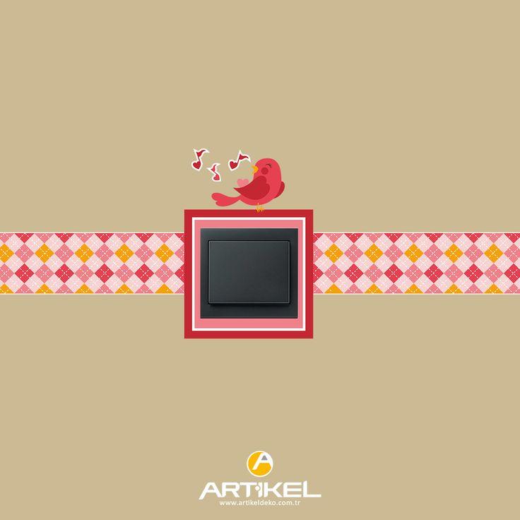 """""""Birdy"""" sticker modeli ile priz'lerinizde harikalar yaratın.. #prizsticker #art #birdy"""