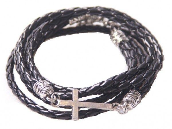 Zwart leren gevlochten armband met kruis | Armbanden | DamesTic
