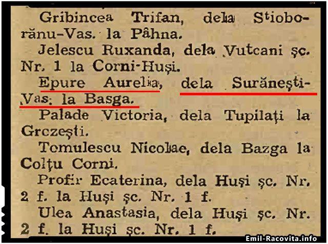 La 1septembrie 1947, o invatatoare din Suranesti, judetul Vaslui era repartizata la o scoala dintr-o alta localitate