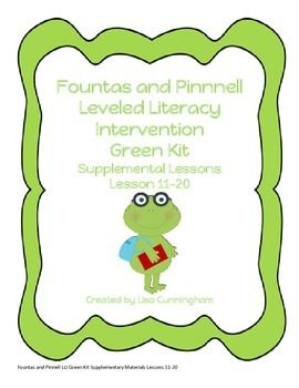 Supplementary materials to further provide further instruction and practice for students receiving LLI Intervention in the Green kit. This kit includes flashcards of sight words, beginning sound activities, writing activities, and word building activities.
