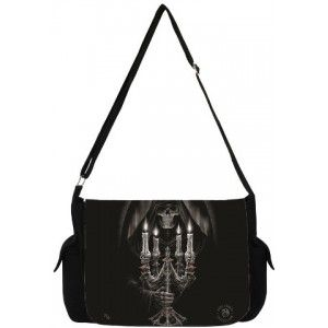 Candleabra Grim Reaper Gothic Messenger Bag by Anne Stokes - New at GothicPlus.com - your source for gothic clothing jewelry shoes boots and home decor.  #gothic #fashion #steampunk