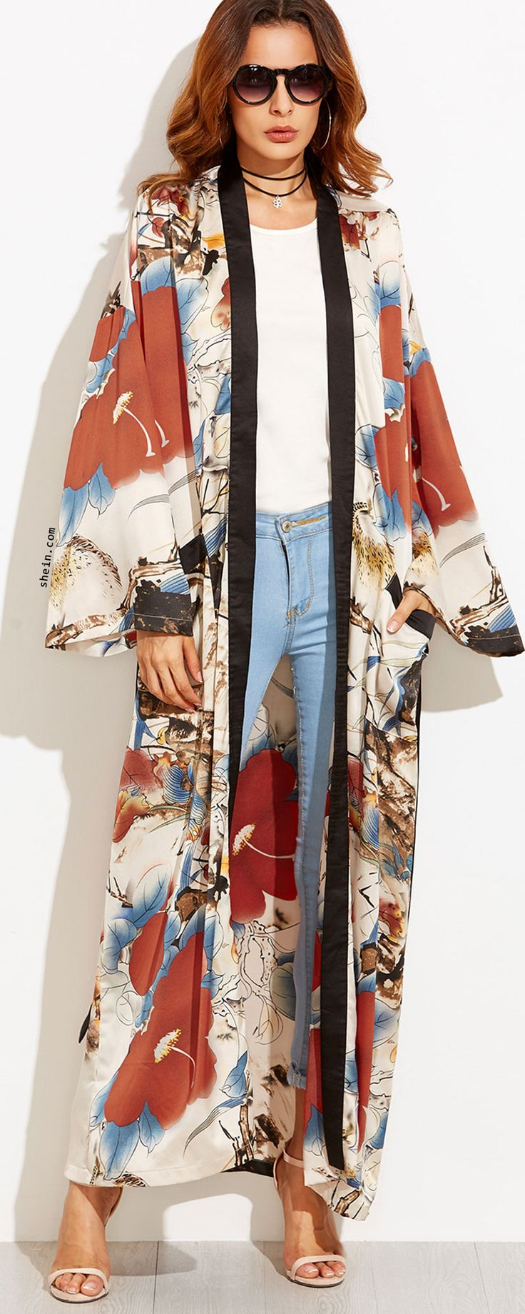 Multicolor Flower Print Contrast Trim Belted Maxi Kimono