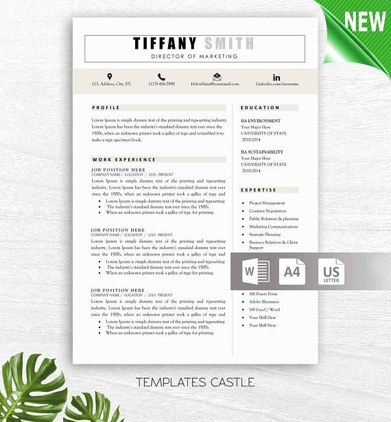 Professional Creative Resume Design Template 2 Pages Instant