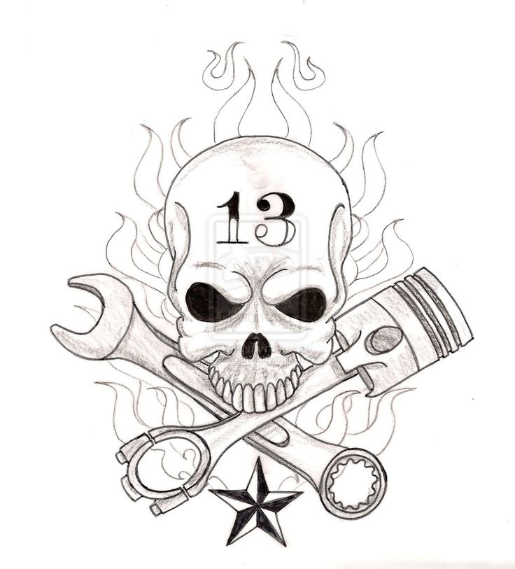 Skull with Crossed Wrench and Piston Tattoo by ~Metacharis on deviantART