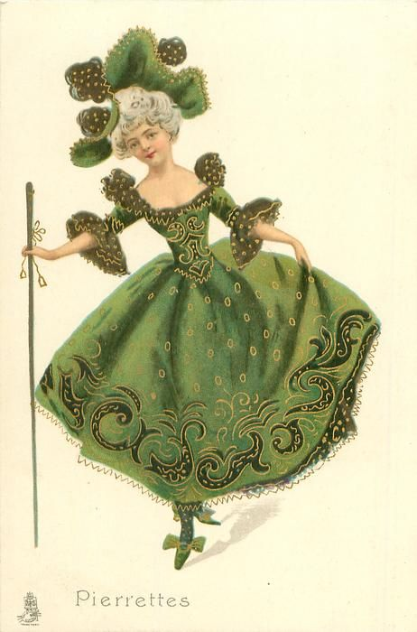 girl in elaborate green dress wears fancy hat, holds long cane dances front
