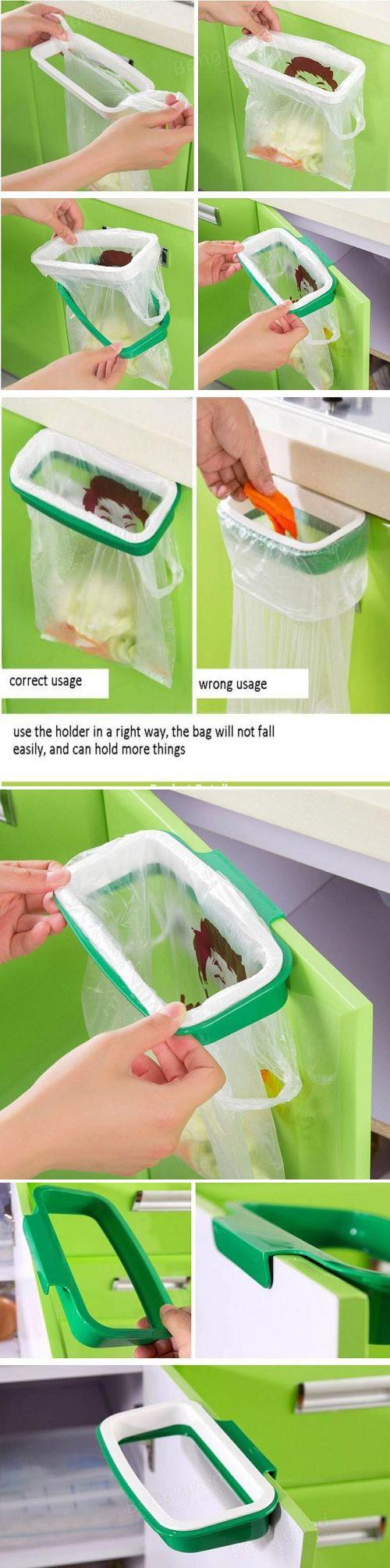 US$4.09 Kitchen Plastic Hanging Garbage Rubbish Bag Holder