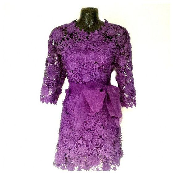 Elegant Purple Bow Floral Crochet Dress Cocktail Party by Jywal