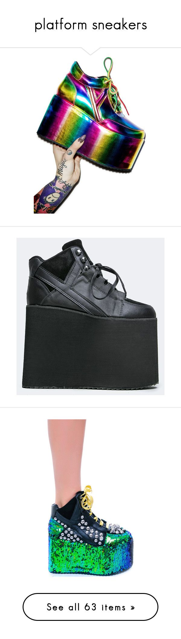 """""""platform sneakers"""" by redranger-kei ❤ liked on Polyvore featuring platformsneakers, shoes, sneakers, platform, waist trainer, rainbow platform sneakers, women shoes, polish shoes, shiny shoes and black"""