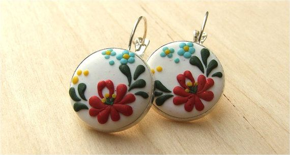 Dangle Earrings red Flower Earrings White Dangle Earrings Folk Art Jewelry Polymer Clay Jewelry Applique Polymer earrings  These are unique,