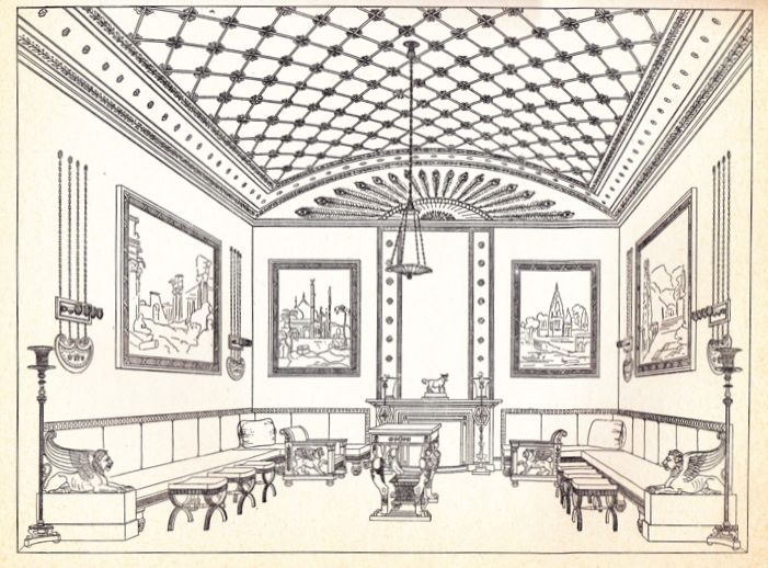 "A drawing by Thomas Hope of a drawing room in the regency style. Image from ""Thomas Hope Household Furniture and Interior Decoration."" Preface by Clifford Musgrave"