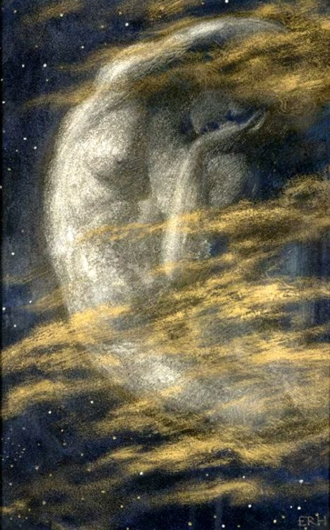 """(The Weary Moon, by Edward Robert Hughes).  """"I linger yet with Nature, for the night / Hath been to me a more familiar face / Than that of man; and in her starry shade / Of dim and solitary loveliness, / I learn'd the language of another world."""" – Lord Byron"""