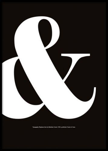 Black & poster. Grafisk tavla med typografi i svartvitt. Svart & tecken, ampersand, som finns i flera olika storlekar. Denna grafiska poster passar fint till dig som gillar typografi, text och tecken.  Mycket fin som del i tavelvägg eller kollage med mindre och större posters eller tavlor.