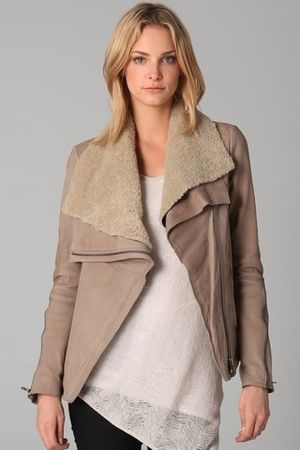 Helmut Lang Leather Jacket with Shearling Collar