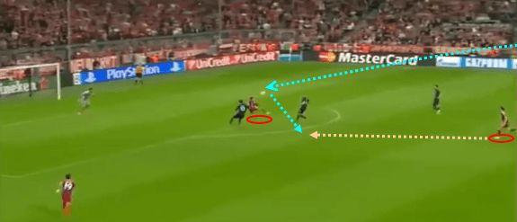 Di partai ke-dua 8 besar, menghadapi Porto, ada banyak momen di mana Thiago menunjukan ia memiliki visi bermain dan daya jelajah yang tinggi. Momen di menit 03 : 50 babak pertama, salah satunya. Sebuah umpan jauh mendarat di zona 14 Porto. Saat itu. Baik Lewandowski maupun muller berada jauh di luar kotak 16 (perbatasan antara zona 10-13 dan 11-14). Thiago mampu menjemput bola dan dalam sentuhan pertama ia flick on bola ke belakang, ketika Muller bergerak naik ke depan.