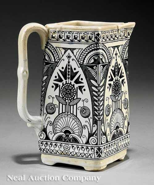English Arts and Crafts Old Hall Pottery Co. Earthenware Pitcher, c. 1886 designed by Christopher Dresser