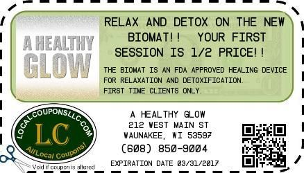 Coupon in Waunakee WI for A Healthy Glow from Local Coupons LLC.
