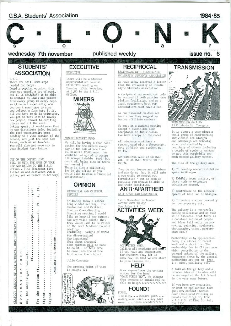 Archive reference: DC/9/4/1 Page 1 of CLONK, Issue 6, student newsletter published by SRC, 1984-5